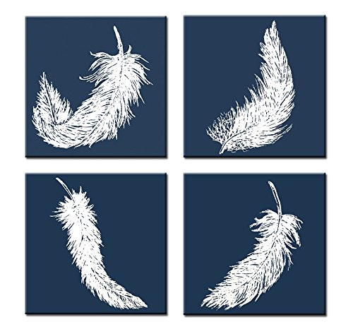 Genius Decor - 4 Pieces White Feather on Navy Art Prints Stretched Canvas Wall Decor, White and Navy Modern Decoration
