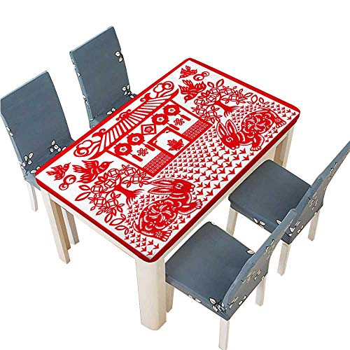 PINAFORE Decorative Tablecloth Chinese New Year Rabbit Table Cover for Dining Room and Party W45 x L84.5 INCH (Elastic Edge) ()