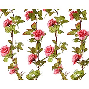 Felice Arts 2 Pack 17 Heads 7.2 Ft/pc Artificial Silk Fake Flowers Autumn Rose Vine Realistic Hanging Silk Rose Plants Wedding Home Party Arch Decor (Pink) 51