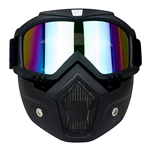 VIVIC Motocross Mask with Detachable and Motorcycle Hemet Riding,Airsoft Safety Goggles Lens UV400 - Solar For Be Sunglasses Eclipse The Can Used