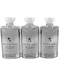 Bvlgari Au The Blanc (White Tea) Shampoo and Shower Gel Travel Size, 2.5 Ounce Bottles - Set of 3