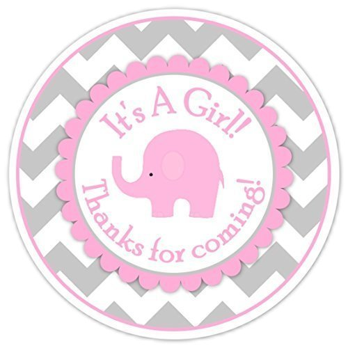 Amazon Com 36 Baby Shower Labels Mod Pink Elephant Pink And Gray