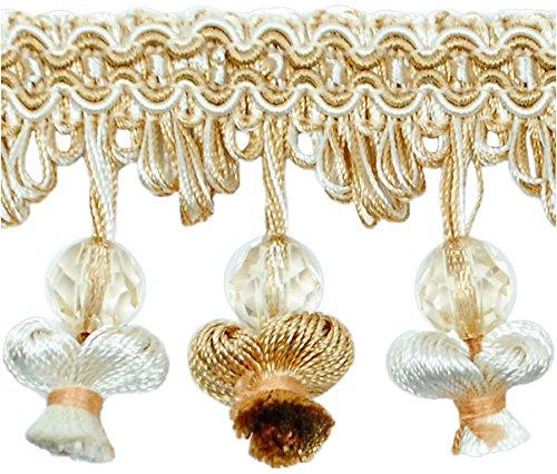 Expo International Stacia Onion Tassel Bead Fringe Trim Embellishment, 20-Yard, Ivory Multi