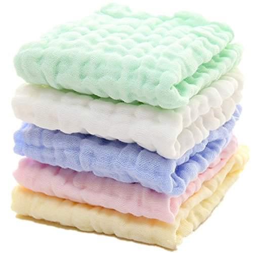Baby Muslin Washcloths - Natural Muslin Cotton Baby Wipes - Soft Newborn Baby Face Towel and Muslin Washcloth for Sensitive Skin- Baby Registry as Shower Gift, 5 Pack 12x12 inches By MUKIN ()