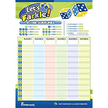Funstructix Let's Farkle! Dice Game Score Pad (50 sheets per pad, 5x7 inches, double sided)