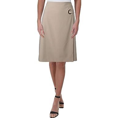 Calvin Klein Falda de Trabajo con Ojales para Mujer - Beige - 32 ...