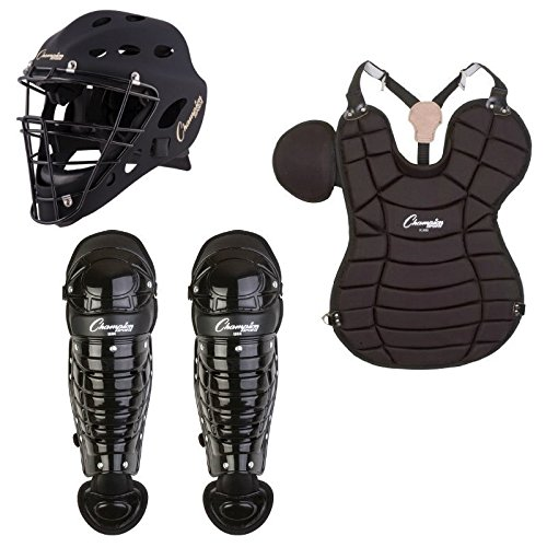 Champion Adult 4-Piece Catchers Package Set Helmet, Chest Protector, Shin Guards by Champion Sports
