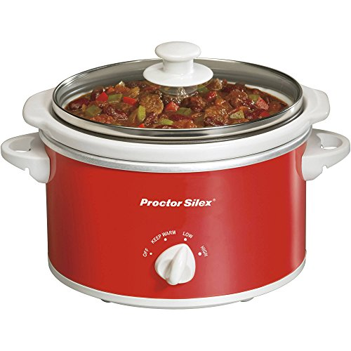 Proctor Silex 1.5 Quart Capacity Oval Best Slow Crockpot Cookers, Red