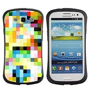 All-Round híbrido de goma duro caso cubierta protectora Accesorio Generación-I BY RAYDREAMMM - Samsung Galaxy S3 I9300 - Pattern Old Tv Colorful Squares Wallpaper