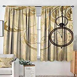Mozenou Clock Patterned Drape for Glass Door A Vintage Grungy Background Design with Pocket Watches on Chain Romantic Retro Art Print Blackout Draperies for Bedroom 55 W x 39 L Brown