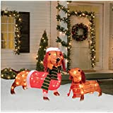 Light-Up Holiday Dachshund Family, 2-Piece Set, 17 Inches and 26 Inches Long - Tinsel Pre-lit