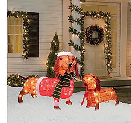 light up holiday dachshund family 2 piece set 17 inches and 26