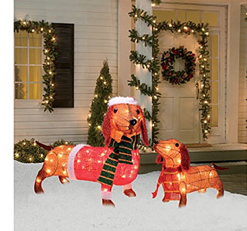 Light up holiday dachshund family 2 piece set 17 inches for Amazon christmas lawn decorations