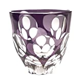Large Dot Guinomi Sake Cup Shot Glass Edo Kiriko Design Cut Glass - Violet [Japanese Crafts Sakura]