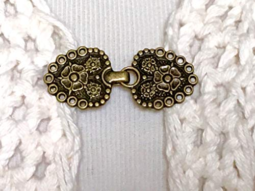 The mattie antiqued gold tone metal flower sweater clip clasp