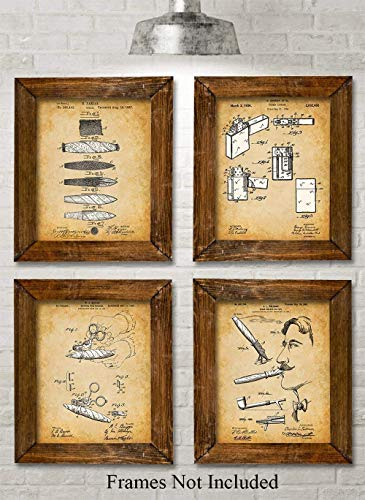 Original Cigars Patent Art Prints - Set of Four Photos (8x10) Unframed - Makes a Great Gift Under $20 for Cigar Lovers, Home Bar, Game Room or Man Cave Decor