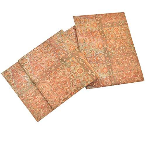 相反する強調肝(着物ひととき) 袋帯 リサイクル 中古 正絹 ふくろおび 洒落袋 花文様 茶系 ll2353b
