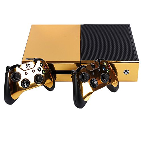 ndad full body golden protective vinyl skin decal for xbox one console and 2pcs xbox one. Black Bedroom Furniture Sets. Home Design Ideas