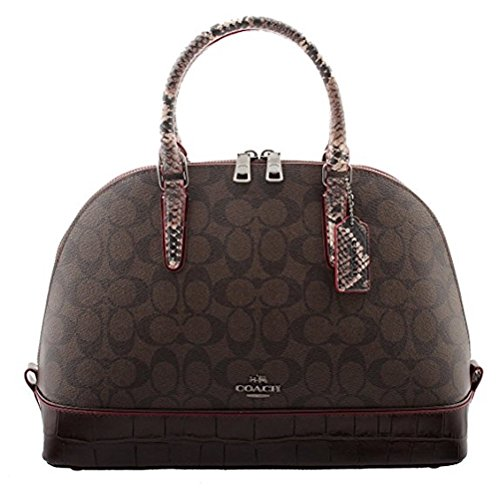 Coach Satchel Signature with Exotic Mix Trim in Brown/Oxblood, F38246 QBFDC by Coach