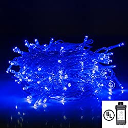 String Lights,Bienna UL Listed Plug In 200 LED 100 ft/30M Multi Color Starry Fairy Lighting [8 Modes] [Waterproof] for Bedroom Outdoor Indoor Patio Yard Home Christmas Xmas Holiday Wedding Party-Blue
