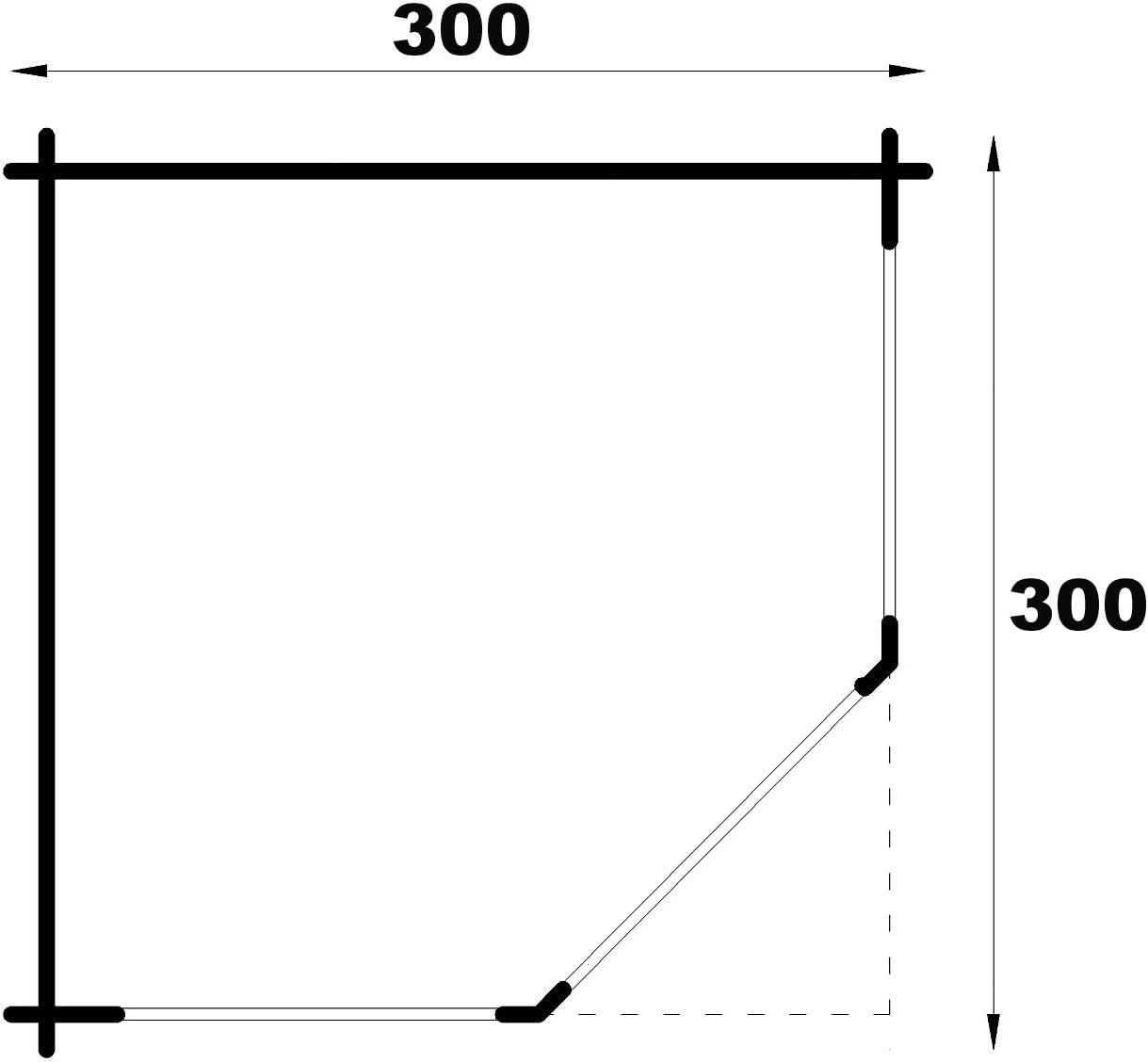 Garten Holzhaus inklusive Montagematerial Alpholz 5-Eck Gartenlaube Maik-28 aus Massiv-Holz Spitzdach Gartenhaus mit 28 mm Wandst/ärke Ger/äteschuppen Gr/ö/ße: 300 x 300 cm