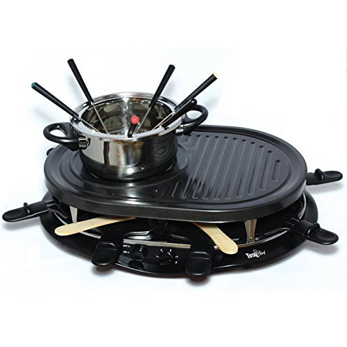 Electric Griddle Fondue Pot with Thermostat Control Non Stick Raclette Skillet 8 Person Swiss Indoor Outdoor Grill Set