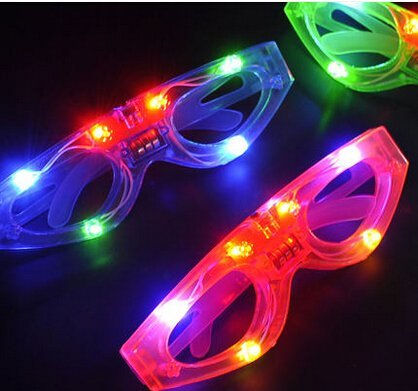 12ct LED Light Up Sunglasses - Flashing Multi Colored Led Glasses BEST PARTY FAVORS Light Up Flashing Glasses For Children - Sunglasses Plastic Wholesale