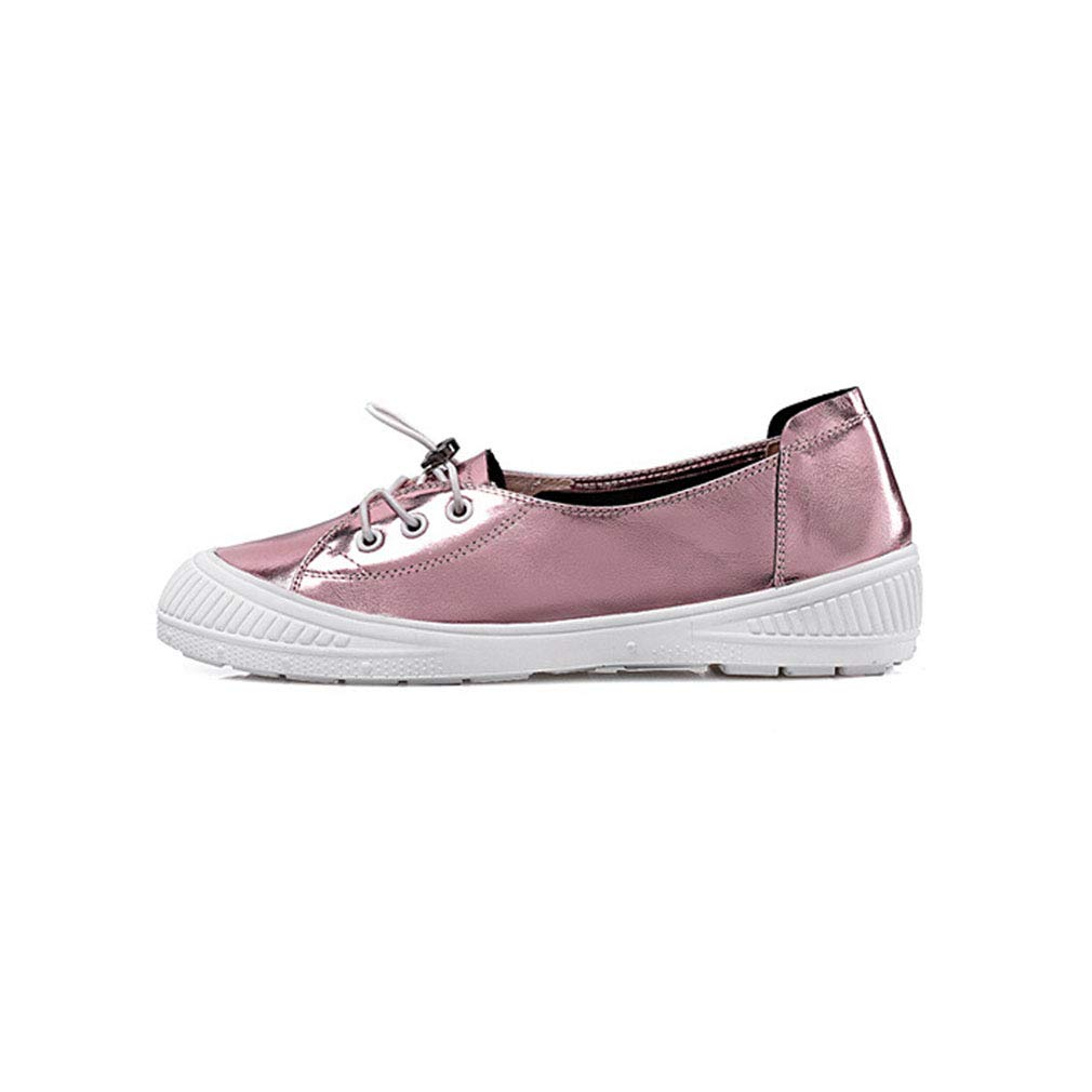 YXB Weibliche Damenschuhe Leder 2019 Neue Lace Up Deck Schuhe Fashion Flat Low-Top Turnschuhe Athletic schuhe B 34