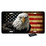 WONDERTIFY Bald Eagle USA Flag License Plate,Grunge American Flags Decorative Car Front License Plate,Vanity Tag,Metal Car Plate,Aluminum Novelty License Plate for Men/Women/Boy/Girls Car,6 X 12 Inch