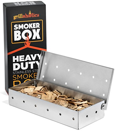 Grillaholics Smoker Box, Top Meat Smokers Box in Barbecue Grilling Accessories, Add Smokey BBQ Flavor on Gas Grill or Charcoal Grills with This Stainless Steel Wood Chip Smoker Box by Grillaholics