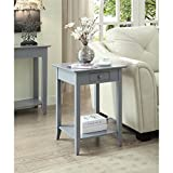 Convenience Concepts American Heritage End Table with Drawer and Shelf, Gray
