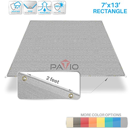 Patio Paradise 7 x 13 Straight Edge Sun Shade Sail, Light Grey Rectangle Outdoor Shade Cloth Pergola Cover UV Block Fabric – Custom 3 Year Warrenty