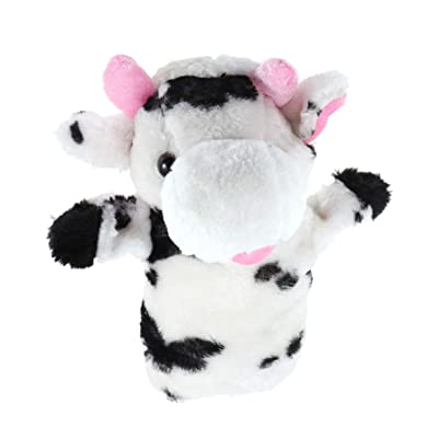 VOSAREA 1Pc Cartoon Cow Shape Plush Hand Puppet Cute Child Baby Favor Dolls Kids Glove Puppet Toy Story Telling Toys: Home & Kitchen