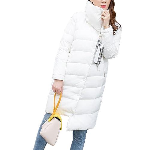 Mujer Grueso Calentar Largo Chaqueta abajo Cuello alto Talla grande Moda Chaqueta Capa Para invierno
