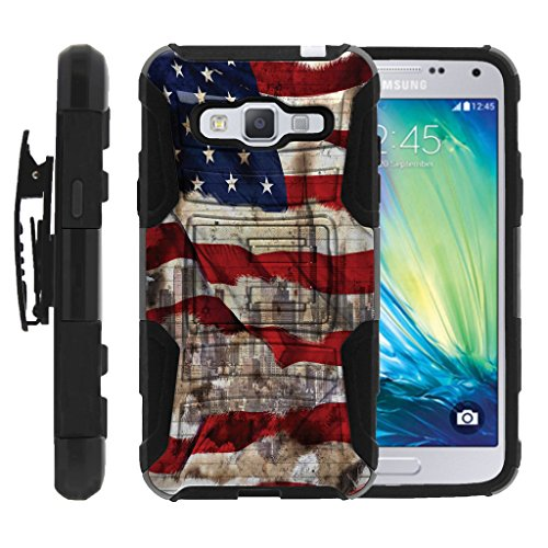 MINITURTLE Case Compatible w/ Galaxy J3, Express Prime, Amp Prime | Express Prime Clip case, Galaxy Sol, J3V[Clip Armor] 2 Layer Hard Resistant American Flag NY ()