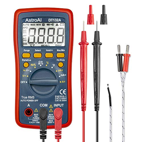 AstroAI Digital Multimeter, TRMS 4000 Counts Volt Meter Manual and Auto Ranging; Measures Voltage Tester, Current, Resistance, Continuity, Frequency; Tests Diodes, Temperature, Red