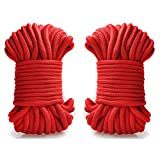 KissyBody [Pack of 2] 32-foot 10m Long Soft Cotton Rope (Red)