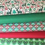 Fabriquilt FAB016 - Stoffa in tema natalizio, con motivo a renne, alberi di Natale o colombe, lunghezza di vendita0,5m Bundle FABFB02