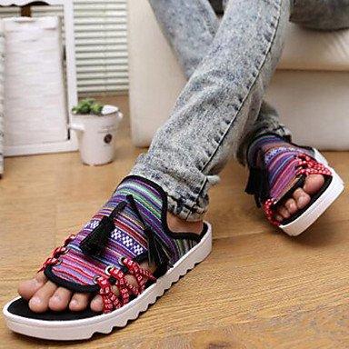 Sandalias de verano zapatos de hombre exterior / oficina / Carrera / Athletic / lona Casual zapatillas amarillo / negro y rojo Negro y rojo