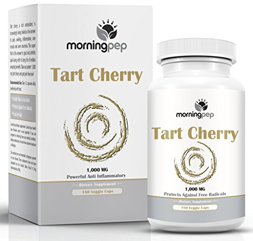 Tart Cherry Extract Supplement 180 Count 1,000 mg per Veggie Capsule By Morning Pep, NON GMO - GLUTEN FREE And Full Of Antioxidants and Flavonoids, Support Immune System Muscles and Joint Health