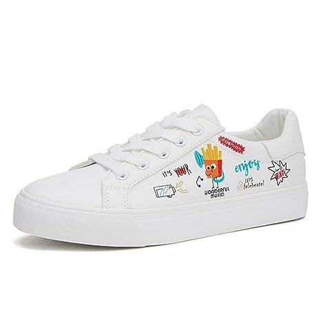 SHI Zapatillas Blancas con Cordones para Mujer Cute Graffiti Zapatillas Informales con Fondo Plano Transpirable Zapatos