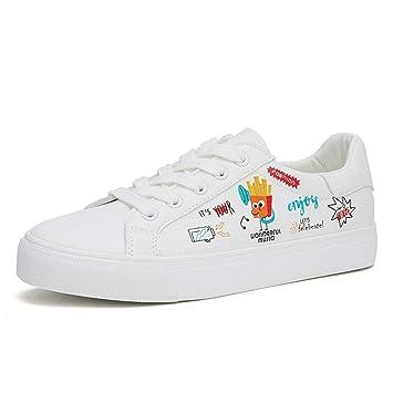 SHI Zapatillas Blancas con Cordones para Mujer Cute Graffiti Zapatillas Informales con Fondo Plano Transpirable Zapatos de Skate de Cuero con PU: Amazon.es: ...
