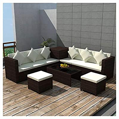 HomyDelight Outdoor Furniture Set, 8 Piece Garden Lounge Set with Cushions Poly Rattan Brown
