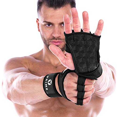 PRIM8 Workout Gloves Weight Lifting Gloves (Black, Large)