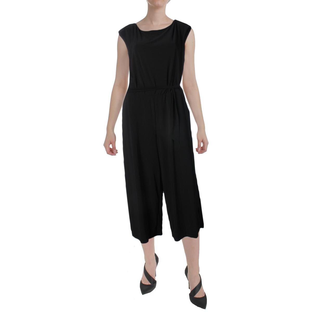 Lauren Ralph Lauren Womens Karrey Matte Jersey Wide Leg Jumpsuit Black M