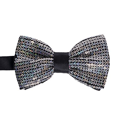 Men's Premium Metallic and Rhinestone Bow Ties for Suits and Tuxedos - Many Colors (Sequin Silver)