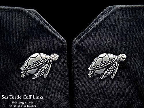 Sea Turtle Cuff Links in Solid Sterling Silver Hand Carved & Cast by Paxton