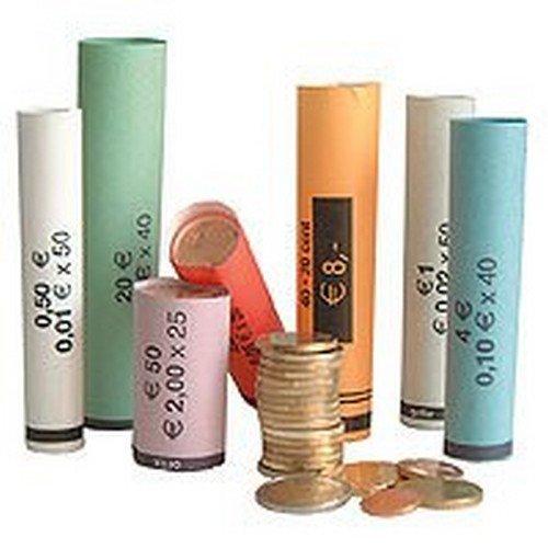 3701 Münzhülsen - Münzrollenpapier gemischt von 1 Cent bis 2 Euro (119er Pack) A