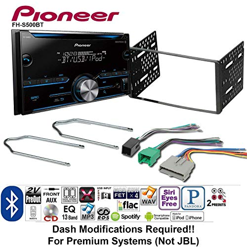 Pioneer FH-S500BT Double Din Radio Install Kit w/CD Player Bluetooth Fits 1995-1997 Ford Explorer, Ford Ranger, Lincoln Town Car Bundle