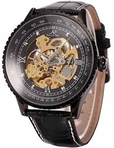 Amazon #LightningDeal 73% claimed: KS Royal Carving Luxury Automatic Mechanical Skeleton Black Men's Wrist Watch KS114